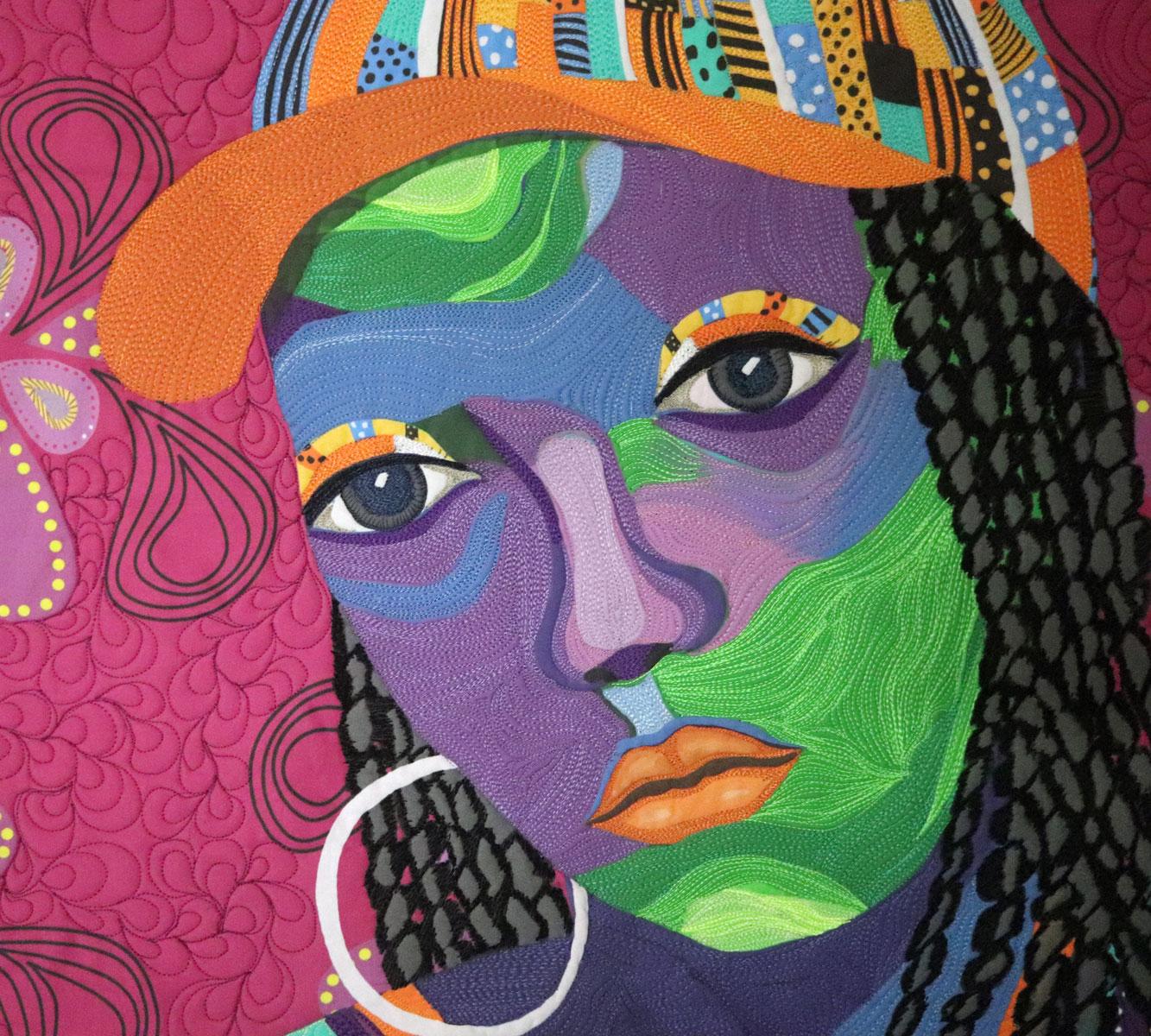 Hats Don't Fit | Clara Nartey | Fiber Art | Art Quilt | Textile Art | Portrait Quilt