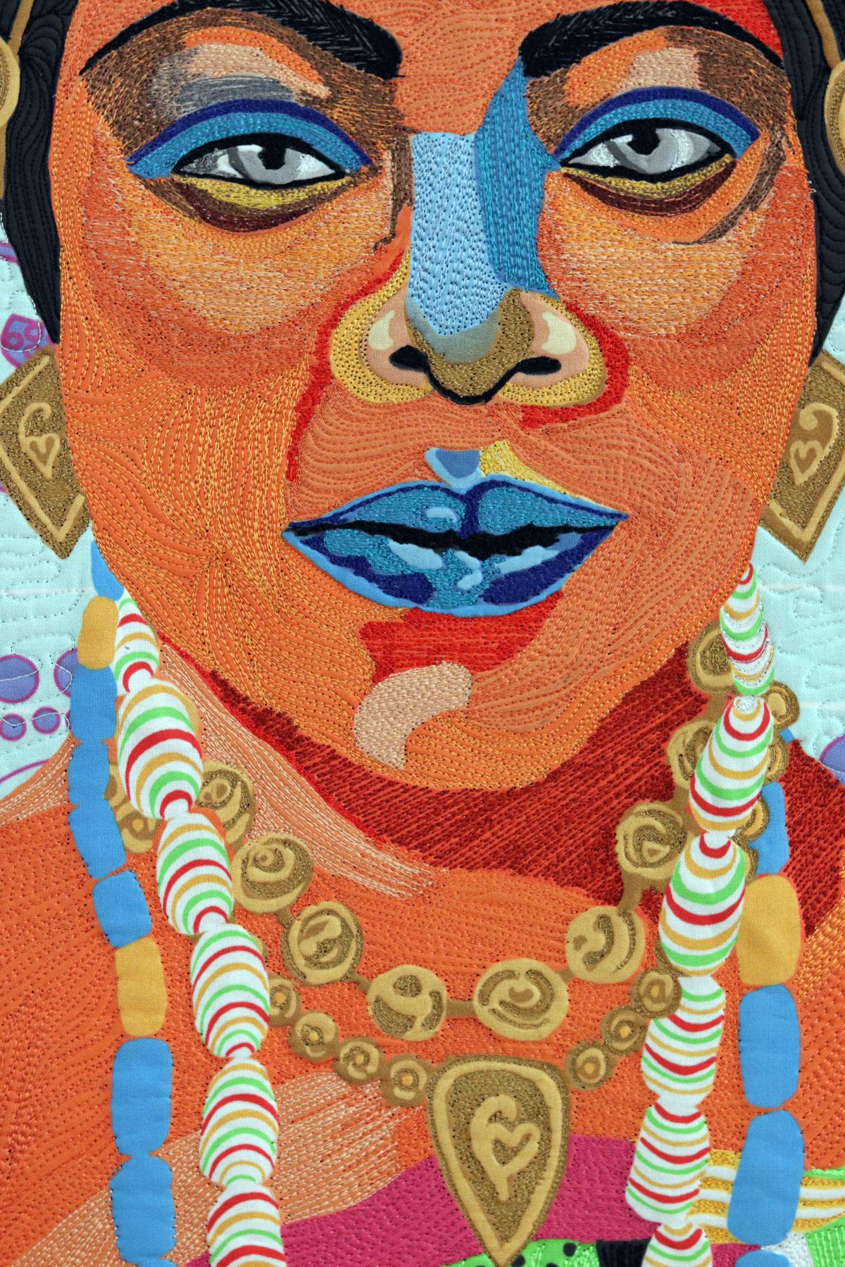 | Black Patti| Art Quilt | Thread Sketching| Thread Painting | Matilda Jones | Black Patti