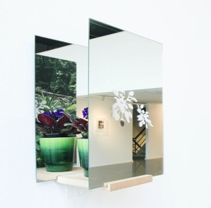 Randi Nygård, Tomrom etter saintpaulia In The Absence of African Violet Installation 2017 Mirros, photo, plant and wood