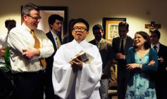 """Lin said he was """"speechless"""" before the baptism, but his words flowed like water at the reception. """"I am so thankful to have made this journey with this family,"""" Lin said to the choir."""