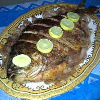 Spicy grilled fish & Sautéed onions