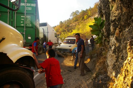 that time a truck broke down on a curve outside of Nebaj and our chicken bus made it around anyway...