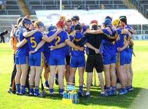 Paul Kinnerk talks tobthe Clare team before the  All-Ireland U-21 hurling final at Thurles. Photograph by John Kelly