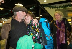 Gerry Broderick of Ennis greeting his daughter Sarah on her arrival home for Christmas from Maine, USA at Shannon Airport as her mother Liz sheds a tear of joy. Photograph by John Kelly.
