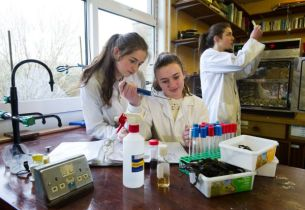 Aideen Bonito, Rachel Hehir and Emma Greene, pupils of Scoil Muire in Ennistymon, working on their BT Young Scientist project which investigates the anti-bacterial properties of North Clare seaweed in the treatment of acne. Photograph by John Kelly.