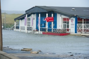 Flooding outside Seaworld, Lahinch. Photograph by John Kelly.