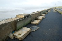 Damage to the seawall at Lahinch promenade. Photograph by John Kelly.