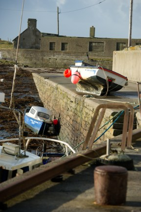This boat was lifted up onto the pier at Seafield, Quilty during the storm on Thursday night. Photograph by John Kelly.