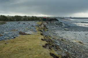 A view of some of the coastal erosion at Quilty caused by last year's flooding. Photograph by John Kelly.