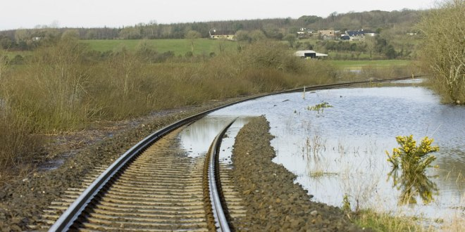 Flooding at Ballycar is disrupting rail services.