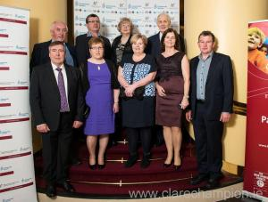 The Clare group at the National community Games AGM in Westport; Back (L to R) Seamus Hayes, The Clare Champion; Kieran Harvey,chairman; Rose Meakins, patron); Graham Meakins, INEAC delegate; front, PJ Phelan, Mary Phelan, PRO Mary Harvey; Mary Loughnane and secretary, Tom Loughnane.