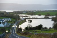 Flooded farmland in the New Quay area caused by the latest high seas, rainfall and gales. Photograph by John Kelly.