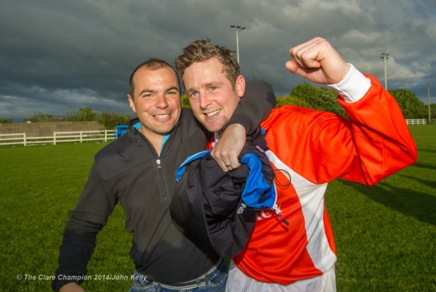 Man of the match Daithi O Connell of Newmarket Celtic A is congratulated by Oscar Traynor manager Liam Murphy following the win over Ennis Town A in the Clare Cup final at the County Grounds. Photograph by John Kelly.
