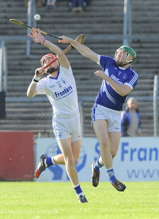 Stephan Maher of Thurles Sarsfield's in action against Cathal Mc Inerney of Cratloe during their Munster Club quarter final in Cusack park. Photograph by John Kelly.