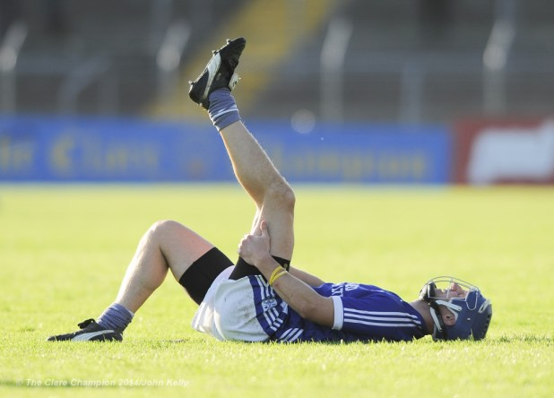 Gearoid Considine of Cratloe goes down injured while playing Thurles Sarsfield's in the Munster Club quarter final in Cusack park. Photograph by John Kelly.