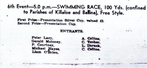 A page from the Killaloe Regatta programme of 1939.