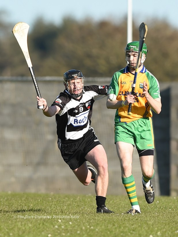 Johnathan Clancy of Clarecastle in action against Conor Tierney of Inagh-Kilnamona during their Clare Champion Cup game in Inagh. Photograph by John Kelly.