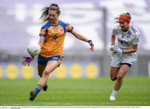 25 September 2016; Sarah Bohannon of Clare in action against Shauna Kendrick of Kildare during the TG4 Ladies Football All-Ireland Intermediate Football Championship Final match between Clare and Kildare at Croke Park in Dublin. Photo by Piaras Ó Mídheach/Sportsfile