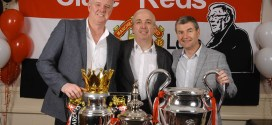 Gary Pallister and Denis Irwin with Peter Boyle, centre, at the Clare Manchester United Supporters Club night at The Auburn Lodge Hotel, Ennis. Photograph by John Kelly
