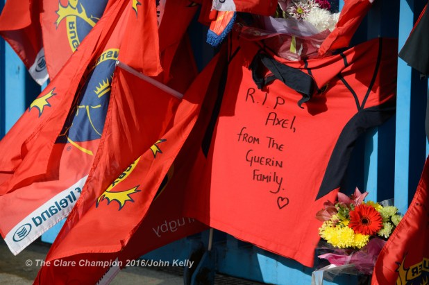 One of the many tributes from fans, on the gates of Thomond Park, to Munster and Ireland's Anthony Foley following his passing in France on Sunday. Photograph by John Kelly.