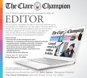 The Clare Champion is looking for a new editor.