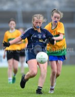 Lyndsay Clarke of Barefield NS in action against Eabha O Driscoll of Knockanean NS during their Division 1 LGFA Ladies Football Primary Schools final at Cusack park. Photograph by John Kelly