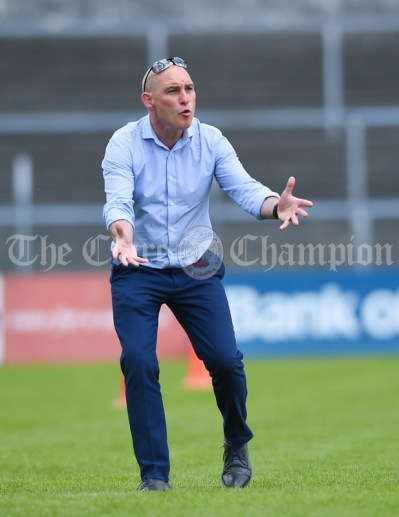 An animated Knockanean NS mentor Jim Kerin on the sideline against Barefield NS during their Division 1 LGFA Ladies Football Primary Schools final at Cusack park. Photograph by John Kelly