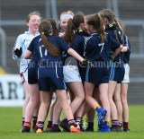 Barefield NS players celebrate their win over Knockanean NS in the Division 1 LGFA Ladies Football Primary Schools final at Cusack park. Photograph by John Kelly