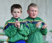 Fans TJ Keane and Eoin Downes look on during the presentation after the Carrigaholt/Moveen V Carron/New Quay,Ballyvaughan/Fanore Primary Schools Div 3 Football 11-Aside final at Kilrush. Photograph by John Kelly