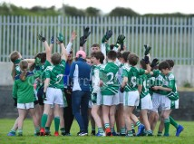 Kilrush players gather in a huddle before playing Doonbeg in the Primary Schools Div 2 Football 13-Aside final at Kilrush. Photograph by John Kelly