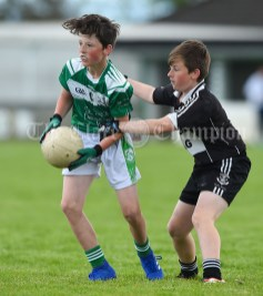 Josh Mc Inerney of Kilrush in action against Cullan Griffin of Doonbeg during their Primary Schools Div 2 Football 13-Aside final at Kilrush. Photograph by John Kelly