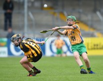 Declan Mc Inerney of Ballyea in action against Oisin Curran of Inagh/Cloonanaha during their Schools Division 2 final at Cusack Park. Photograph by John Kelly