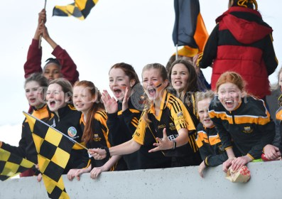 Ballyea fans cheer on their team against Inagh/Cloonanaha during their Schools Division 2 final at Cusack Park. Photograph by John Kelly