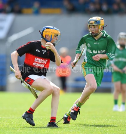 Mikey Bogenbergerof Mountshannon/Lackyle in action against Neil Hegarty of Kilnamona during their Schools Division 3 final at Cusack Park. Photograph by John Kelly