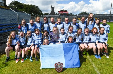 The victorious Cooraclare/Cree/Clohanbeg team following their Division 2 LGFA Ladies Football Primary Schools final at Cusack park. Photograph by John Kelly