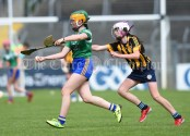 Avril Moore of Stonehall/Ballycar in action against Rachel Danaher of Ogonelloe during their Schools Division 4 camogie final at Cusack Park. Photograph by John Kelly