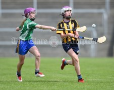 Shauna O Callaghan of Stonehall/Ballycar in action against Rachel Danaher of Ogonelloe during their Schools Division 4 camogie final at Cusack Park. Photograph by John Kelly