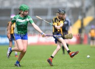 Sally Kelly of Stonehall/Ballycar in action against Chloe Lynch of Ogonelloe during their Schools Division 4 camogie final at Cusack Park. Photograph by John Kelly