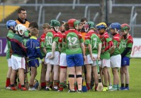 120619 Clooney get their half time Team talk from Mr Talty during the Division 4 Hurling Clare Primary School Finals .Pic Arthur Ellis