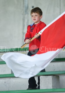 Kilmurry Mc Mahon/Labasheeda fan Tadgh Birmingham in the stand during their Primary Schools Div 4 Football 9-Aside final at Kilrush. Photograph by John Kelly
