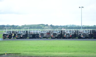 US trucks parked up at Shannon Airport ahead of the arrival of the President of the United States Of America Donald J. Trump to Shannon. Photograph by John Kelly.