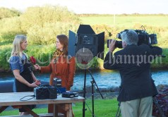 Local business woman Rita Mc Inerney is interviewed for TV in Doonbeg Village during the visit of the US President Donald Trump. Photograph by John Kelly