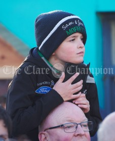 Great anticipation in the crowd ahead of a walkabout by Eric and Don Junior Trump in Doonbeg Village. Photograph by John Kelly