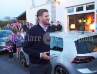 Eric Trump arrives for a walkabout in Doonbeg Village. Photograph by John Kelly