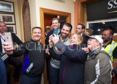 Eric and Don Junior Trump nabbed for selfies as they arrive in Comerford's bar during a walkabout in Doonbeg Village. Photograph by John Kelly