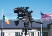 Cameras and flags at the ready at Doonbeg NS as a visit from Melania Trump is rumored during the visit of President of the United States Of America Donald J. Trump. Photograph by John Kelly.