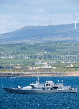 The LE Niamh anchored in Doonbeg Bay during the visit of President of the United States Of America Donald J. Trump. Photograph by John Kelly.