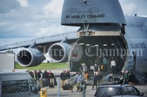 Passengers disembark a US Airforce Super Galaxy plane which arrives on Monday at Shannon Airport. Photograph by John Kelly.