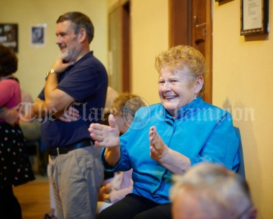 Patsy Finn of Westmeath sits out the dancing during the Ceili, with the Johnny Reidy Ceili Band, as part of the Dan Furey Festival in Labasheeda. Photograph by John Kelly