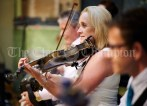 band member Martina o Neill playing fiddle during the Ceili, with the Johnny Reidy Ceili Band, as part of the Dan Furey Festival in Labasheeda. Photograph by John Kelly